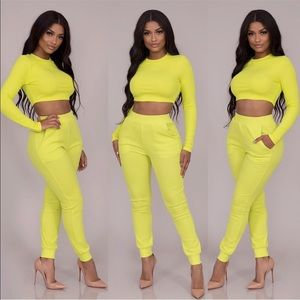 Tops - Jesse Ribbed Jogger Set-Neon Lime